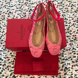Valentino Lace ankle flats neon pink